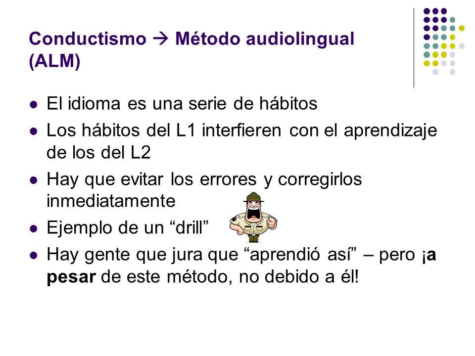 Conductismo  Método audiolingual (ALM)