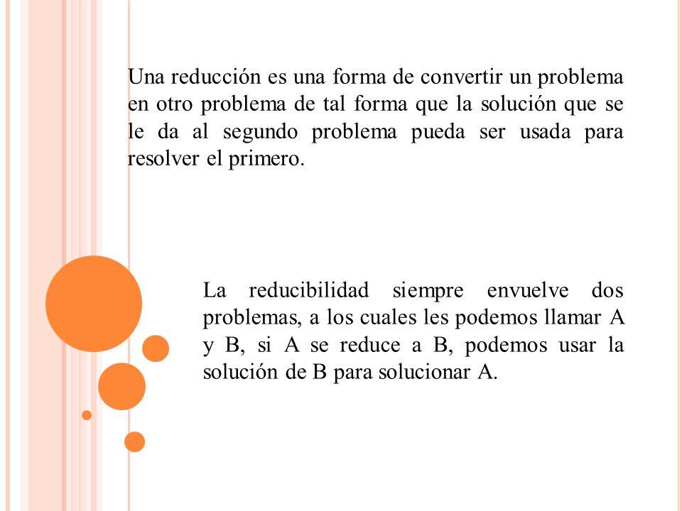 Una reducción es una forma de convertir un problema en otro problema de tal forma que la solución que se le da al segundo problema pueda ser usada para resolver el primero.