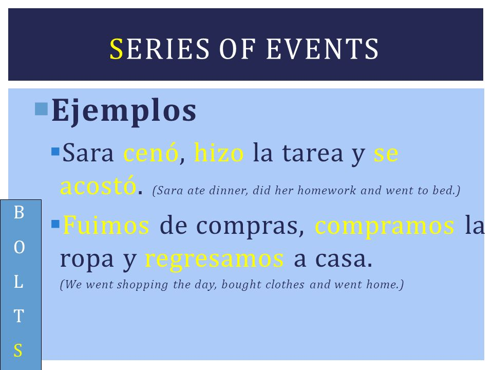 Ejemplos Series of events