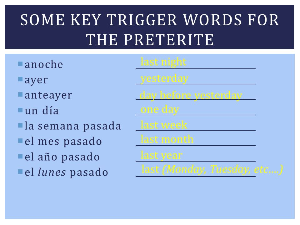 Some key trigger words for the PRETERITE