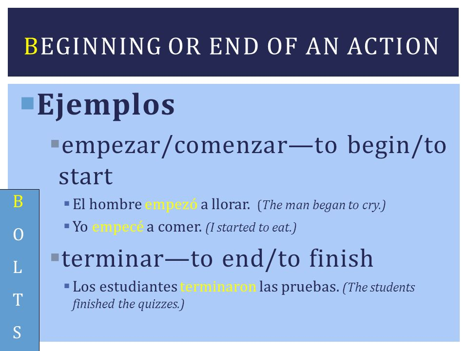 Beginning or end of an action