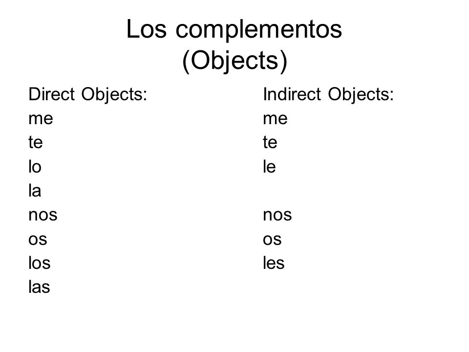 Los complementos (Objects)
