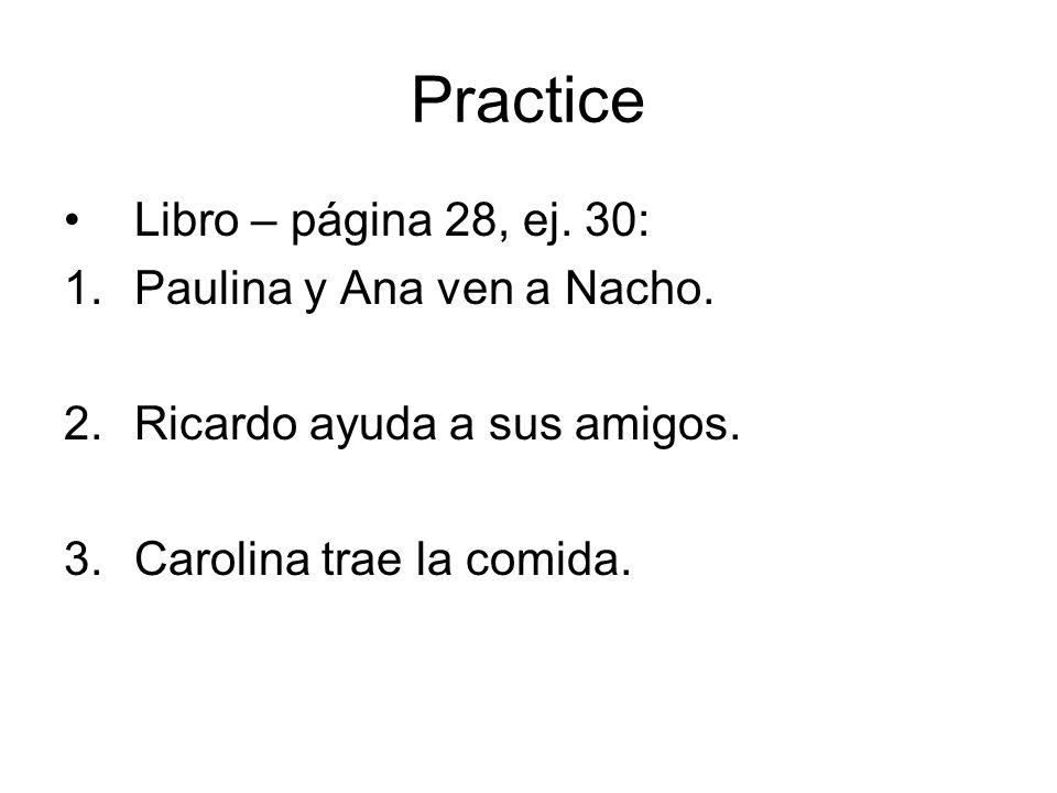 Practice Libro – página 28, ej. 30: Paulina y Ana ven a Nacho.