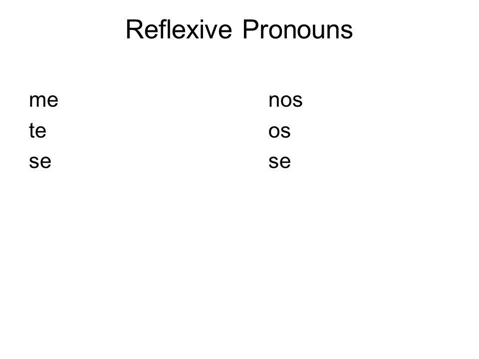 Reflexive Pronouns me nos te os se se