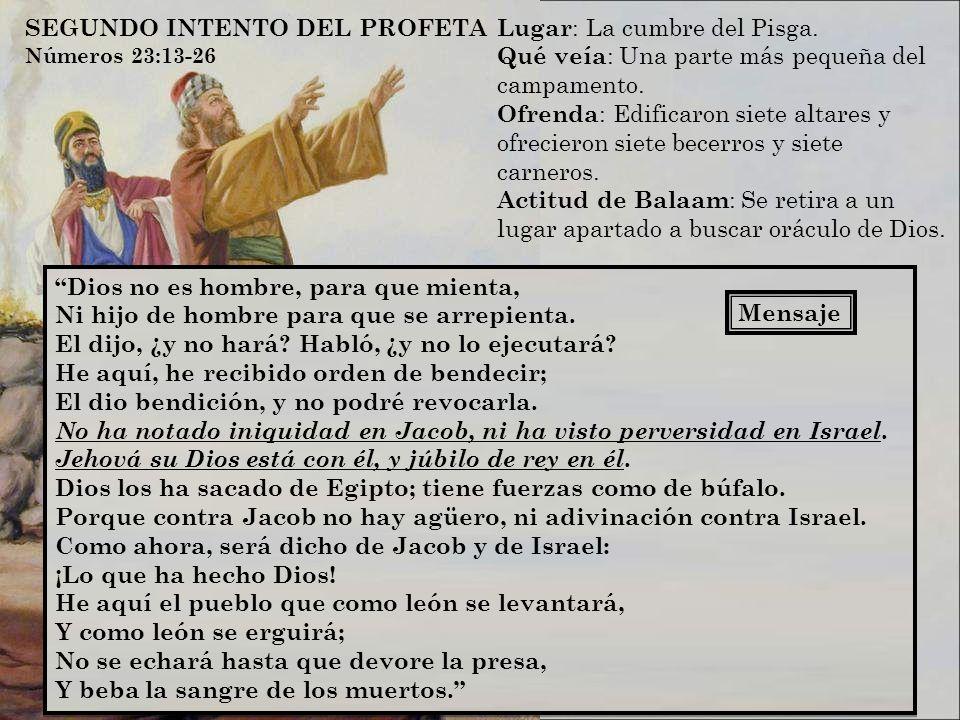 SEGUNDO INTENTO DEL PROFETA Lugar: La cumbre del Pisga.
