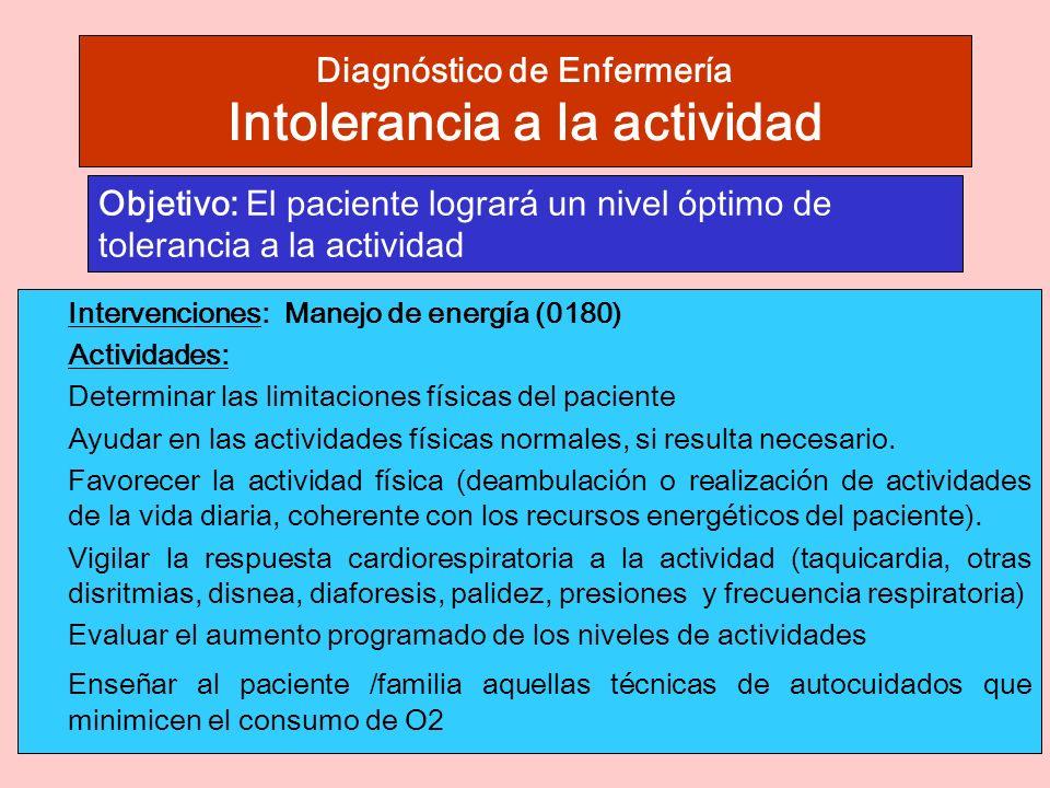 Diagnóstico de Enfermería Intolerancia a la actividad