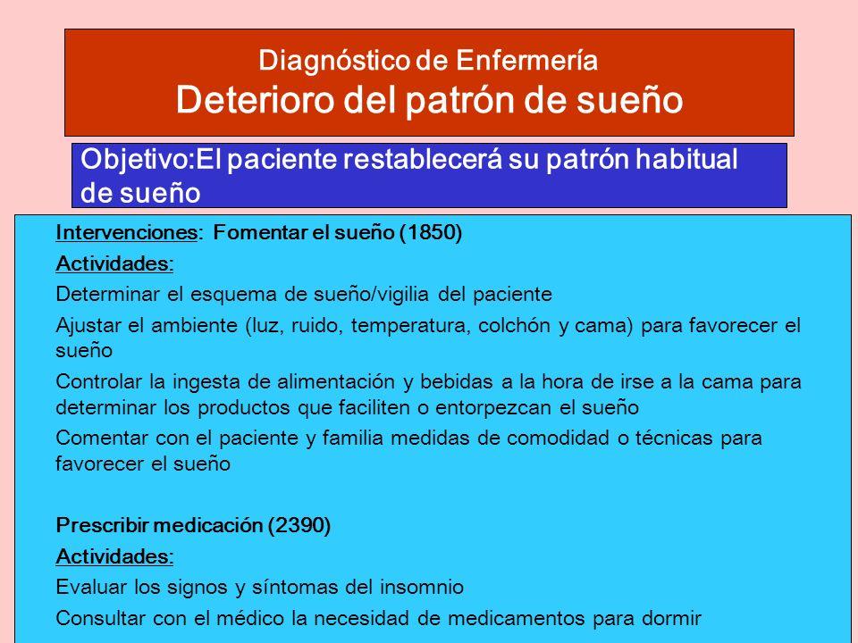 Diagnóstico de Enfermería Deterioro del patrón de sueño