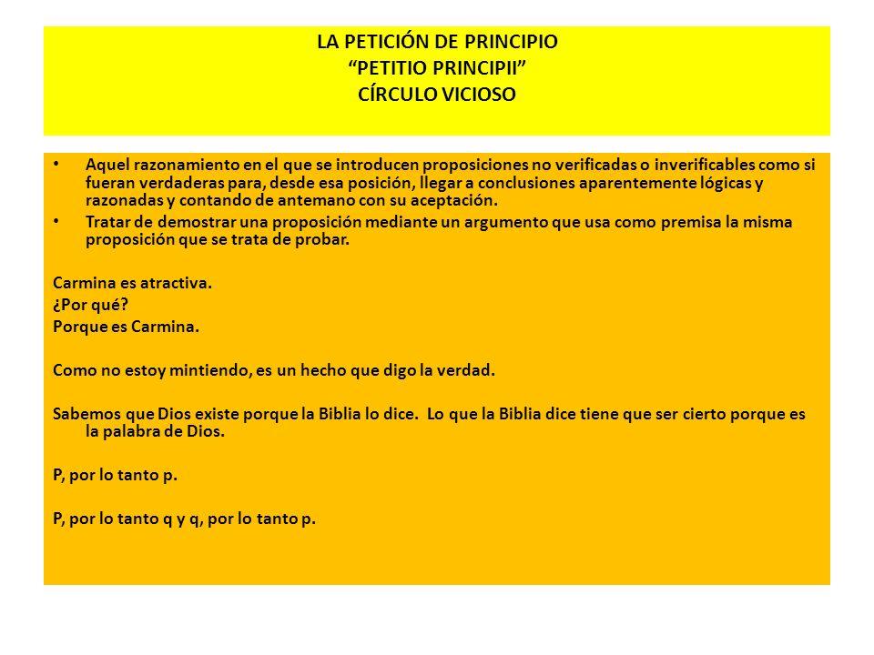 LA PETICIÓN DE PRINCIPIO PETITIO PRINCIPII CÍRCULO VICIOSO