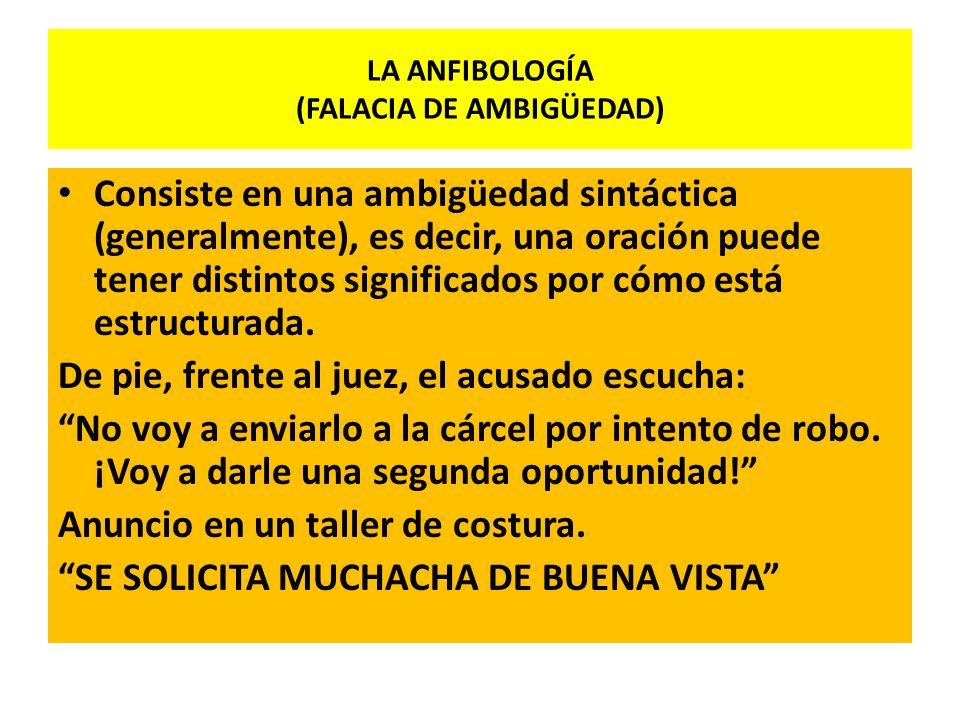 LA ANFIBOLOGÍA (FALACIA DE AMBIGÜEDAD)