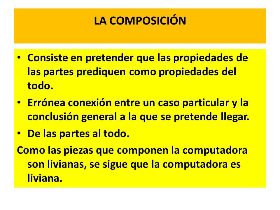 LA COMPOSICIÓN Consiste en pretender que las propiedades de las partes prediquen como propiedades del todo.