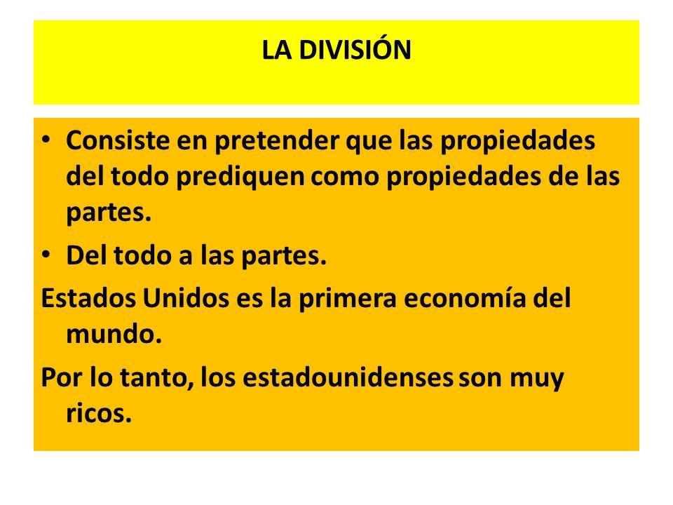 LA DIVISIÓN Consiste en pretender que las propiedades del todo prediquen como propiedades de las partes.