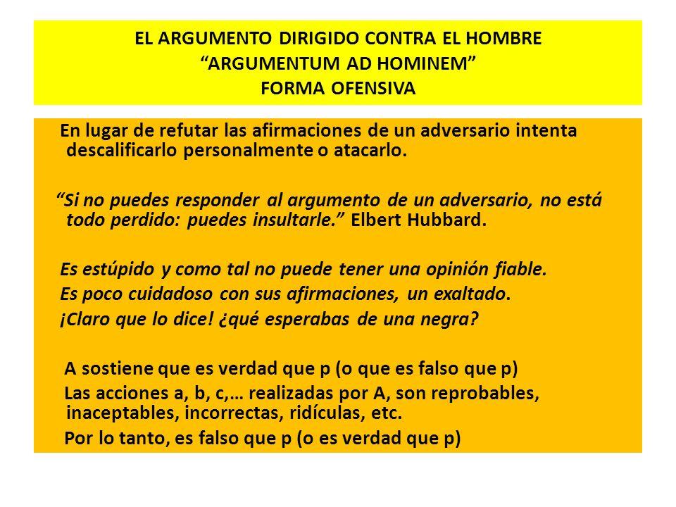 EL ARGUMENTO DIRIGIDO CONTRA EL HOMBRE ARGUMENTUM AD HOMINEM FORMA OFENSIVA