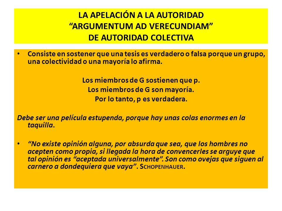 LA APELACIÓN A LA AUTORIDAD ARGUMENTUM AD VERECUNDIAM DE AUTORIDAD COLECTIVA
