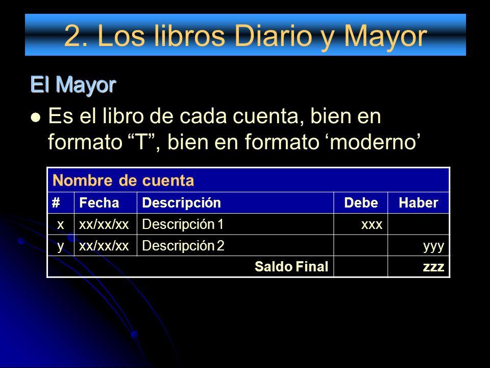 2. Los libros Diario y Mayor