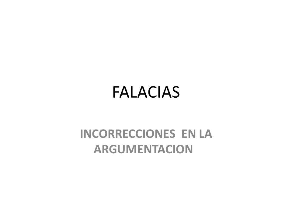 INCORRECCIONES EN LA ARGUMENTACION