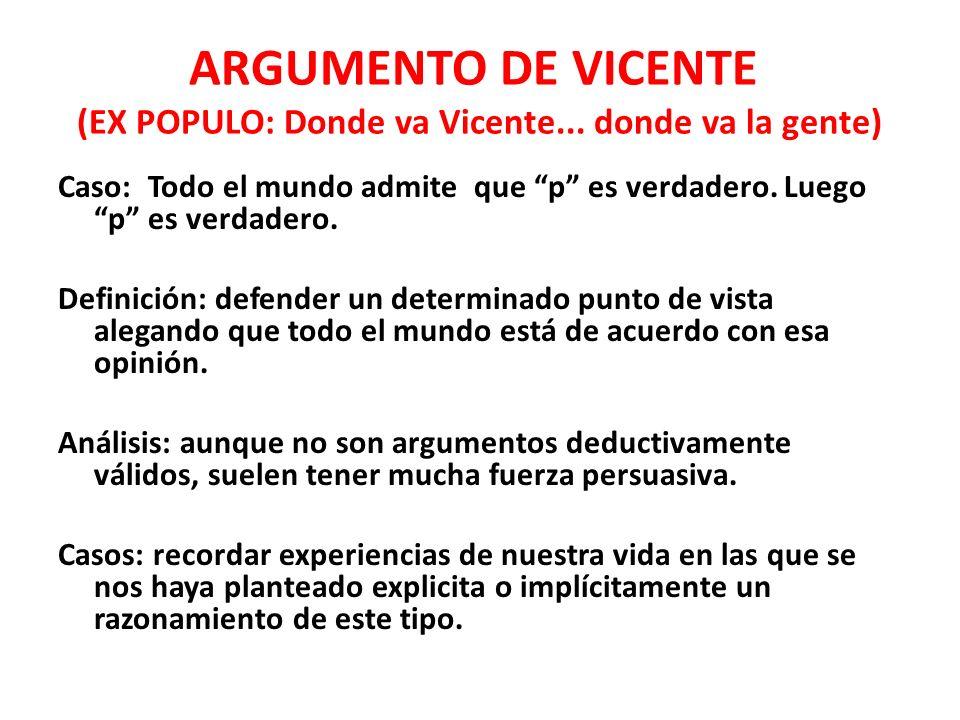 ARGUMENTO DE VICENTE (EX POPULO: Donde va Vicente... donde va la gente)