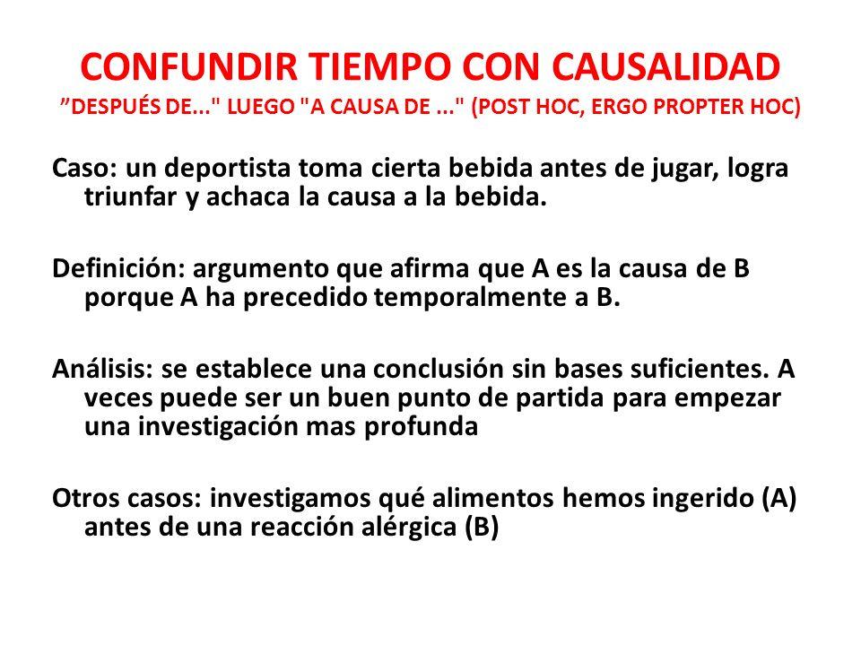 CONFUNDIR TIEMPO CON CAUSALIDAD DESPUÉS DE. LUEGO A CAUSA DE