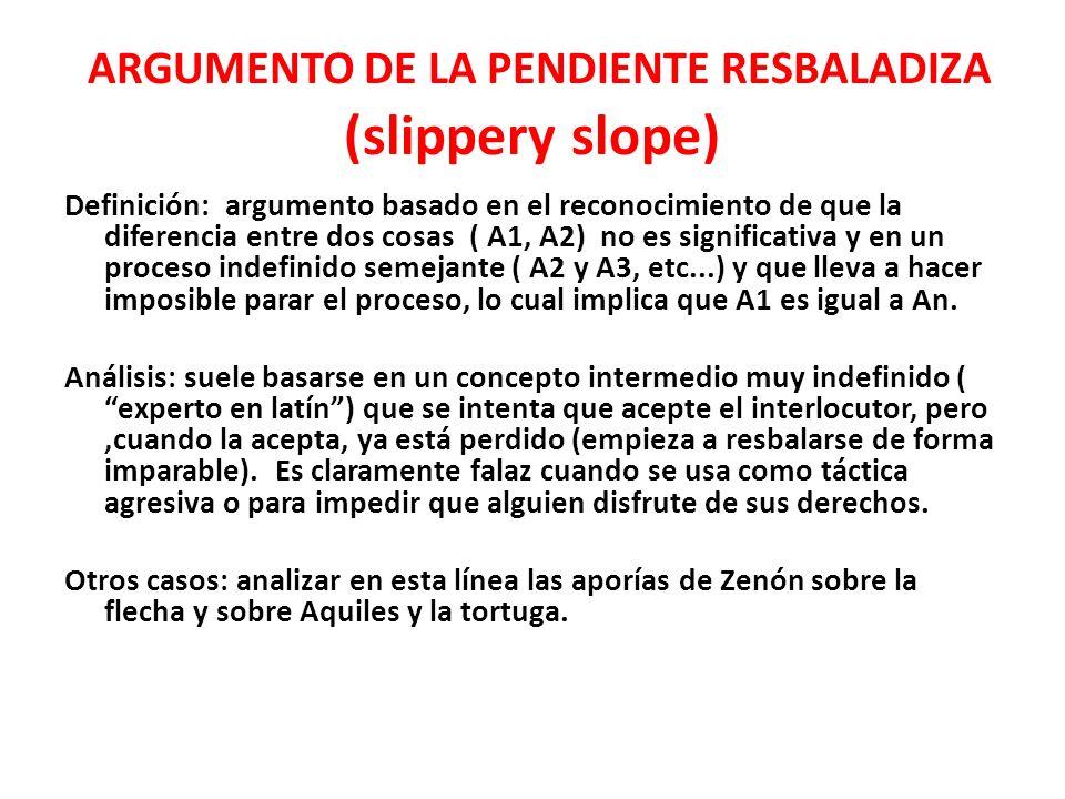 ARGUMENTO DE LA PENDIENTE RESBALADIZA (slippery slope)