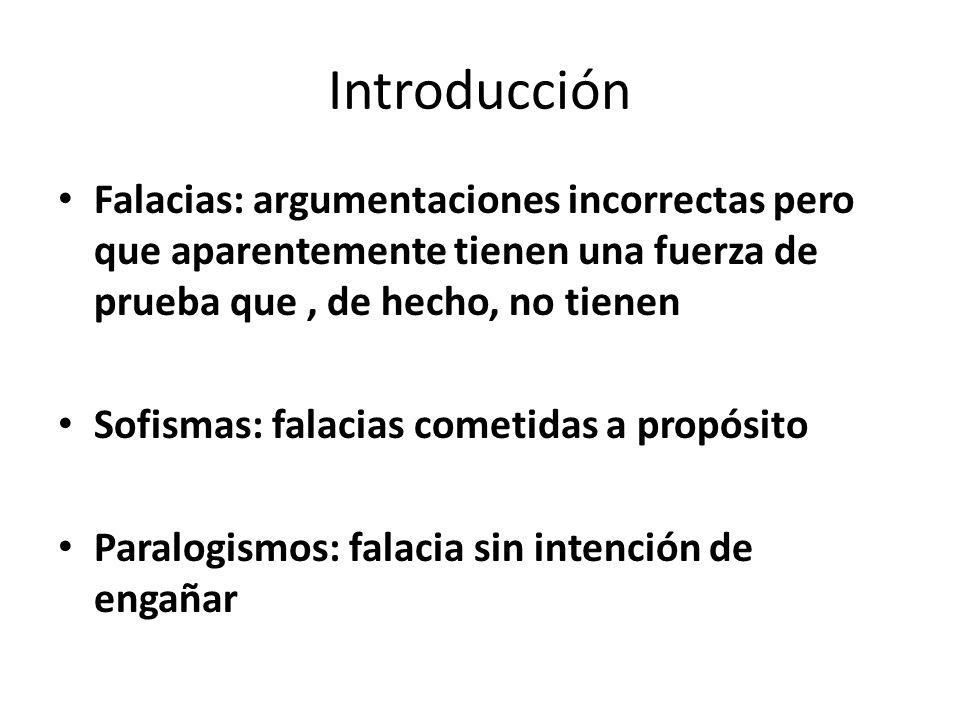 Introducción Falacias: argumentaciones incorrectas pero que aparentemente tienen una fuerza de prueba que , de hecho, no tienen.