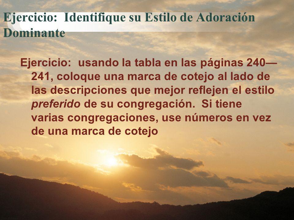 Ejercicio: Identifique su Estilo de Adoración Dominante