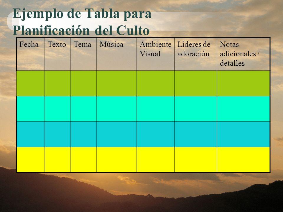 Ejemplo de Tabla para Planificación del Culto