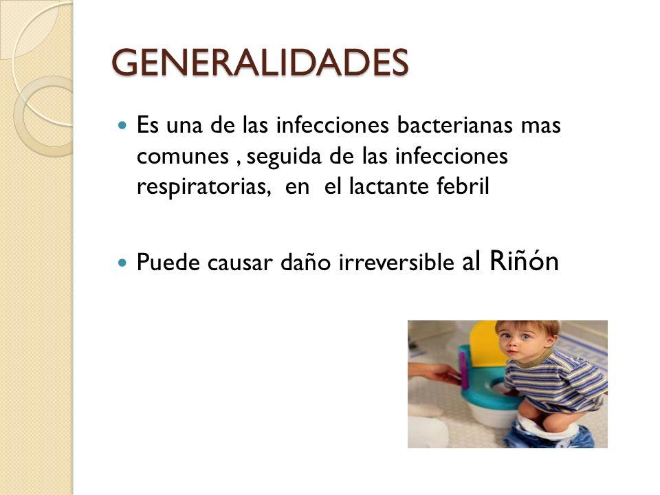 GENERALIDADES Es una de las infecciones bacterianas mas comunes , seguida de las infecciones respiratorias, en el lactante febril.
