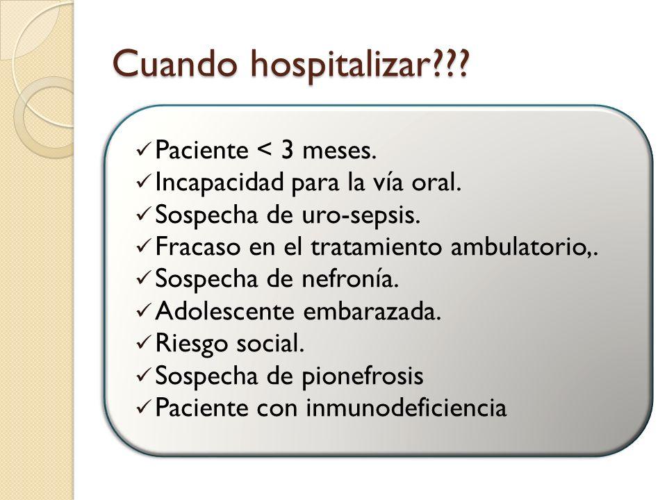 Cuando hospitalizar Paciente < 3 meses.