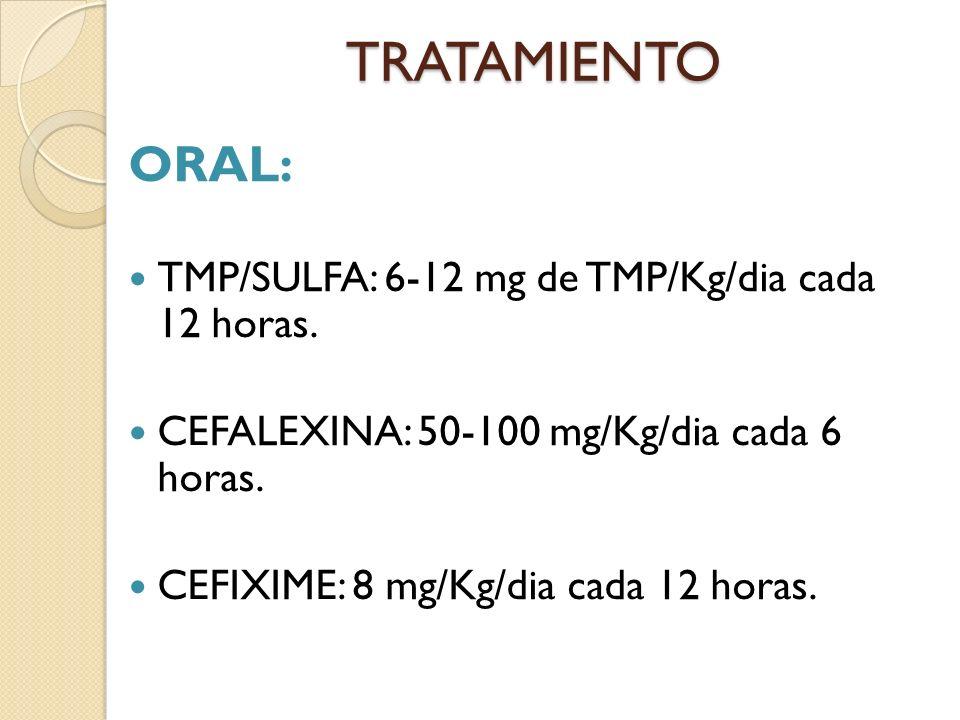 TRATAMIENTO ORAL: TMP/SULFA: 6-12 mg de TMP/Kg/dia cada 12 horas.
