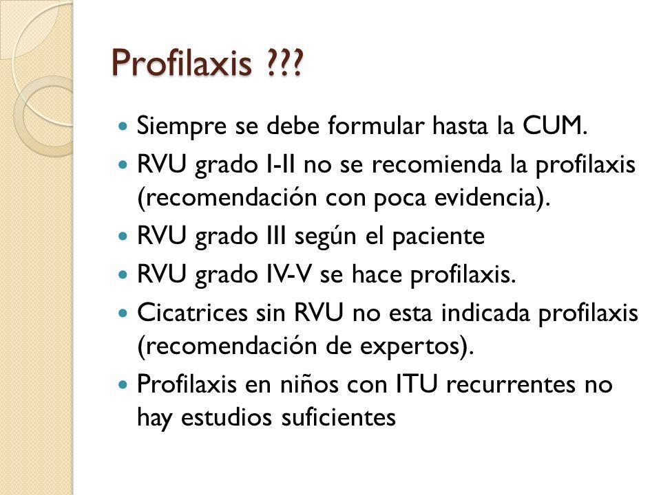Profilaxis Siempre se debe formular hasta la CUM.