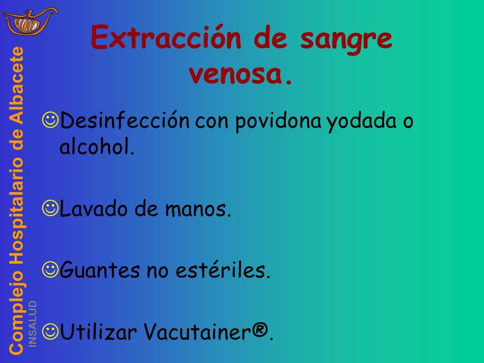 Extracción de sangre venosa.
