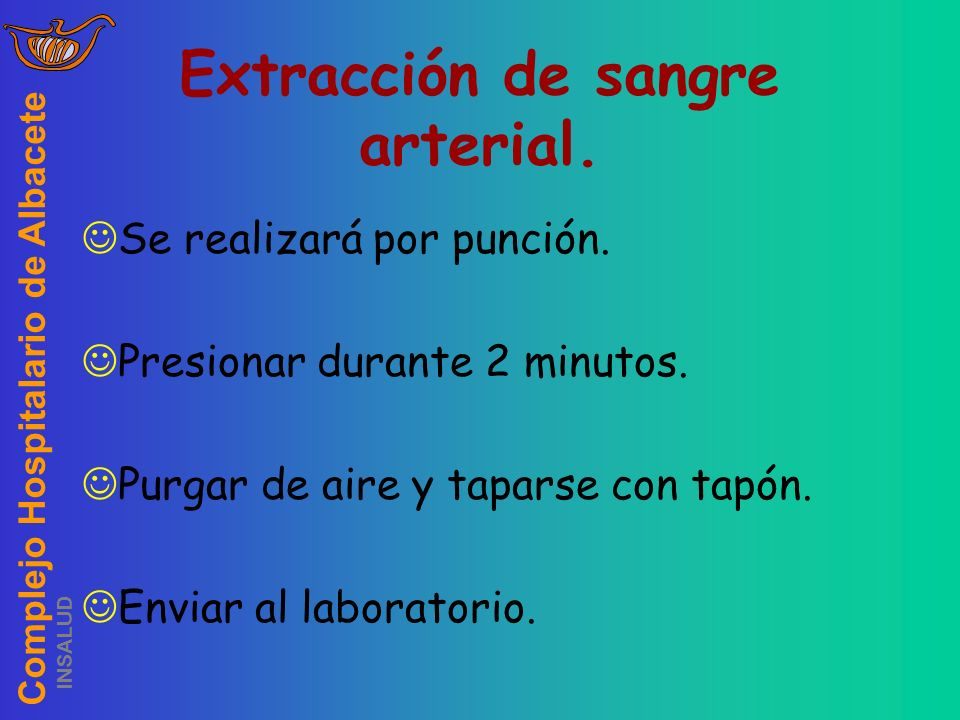 Extracción de sangre arterial.