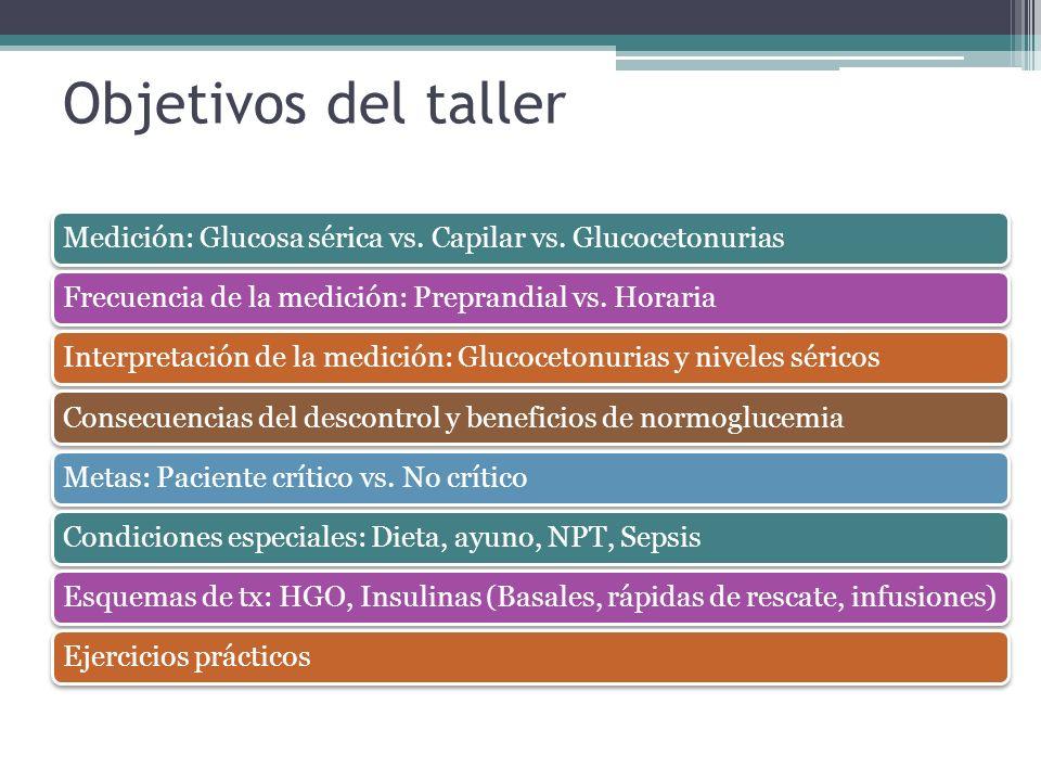 Objetivos del taller Medición: Glucosa sérica vs. Capilar vs. Glucocetonurias. Frecuencia de la medición: Preprandial vs. Horaria.