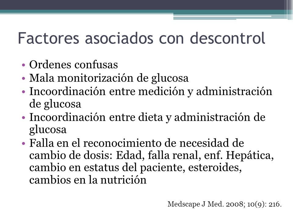 Factores asociados con descontrol