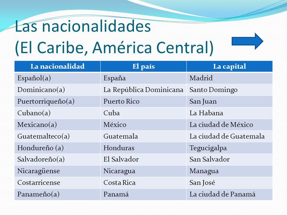 Las nacionalidades (El Caribe, América Central)