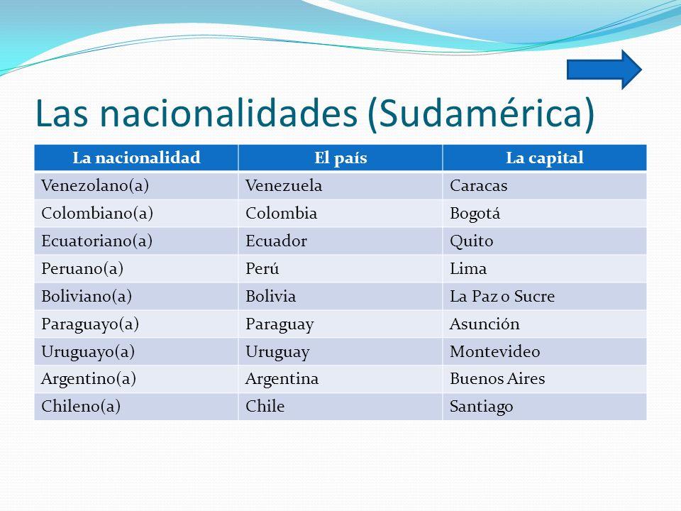 Las nacionalidades (Sudamérica)