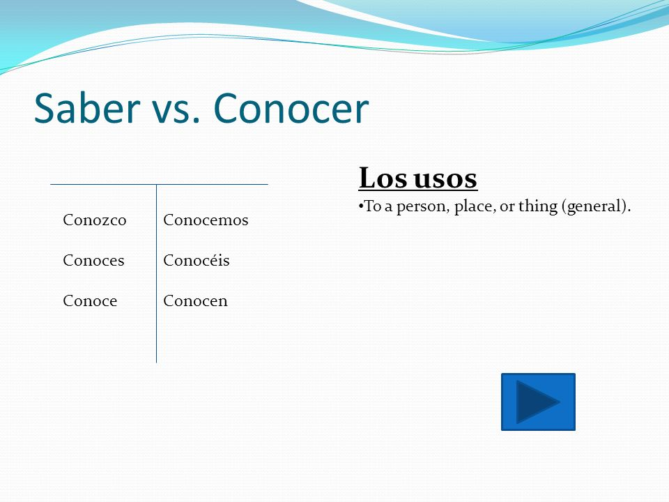 Saber vs. Conocer Los usos To a person, place, or thing (general).