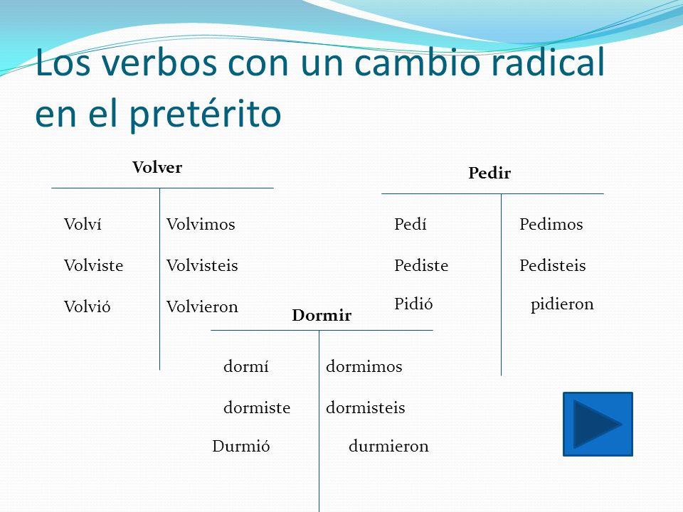Los verbos con un cambio radical en el pretérito