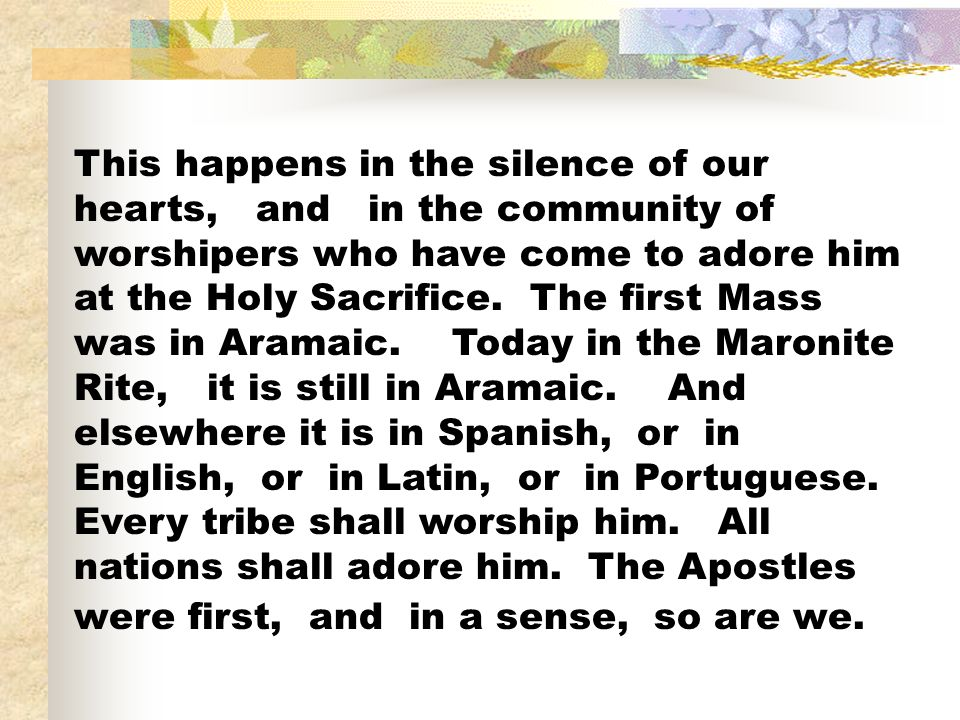 This happens in the silence of our hearts, and in the community of worshipers who have come to adore him at the Holy Sacrifice.