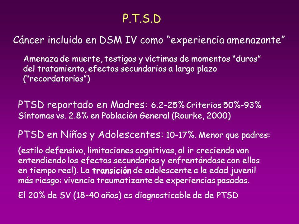 P.T.S.D Cáncer incluido en DSM IV como experiencia amenazante