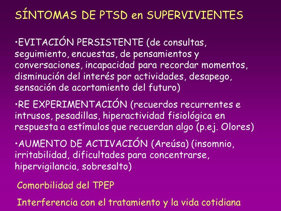 SÍNTOMAS DE PTSD en SUPERVIVIENTES