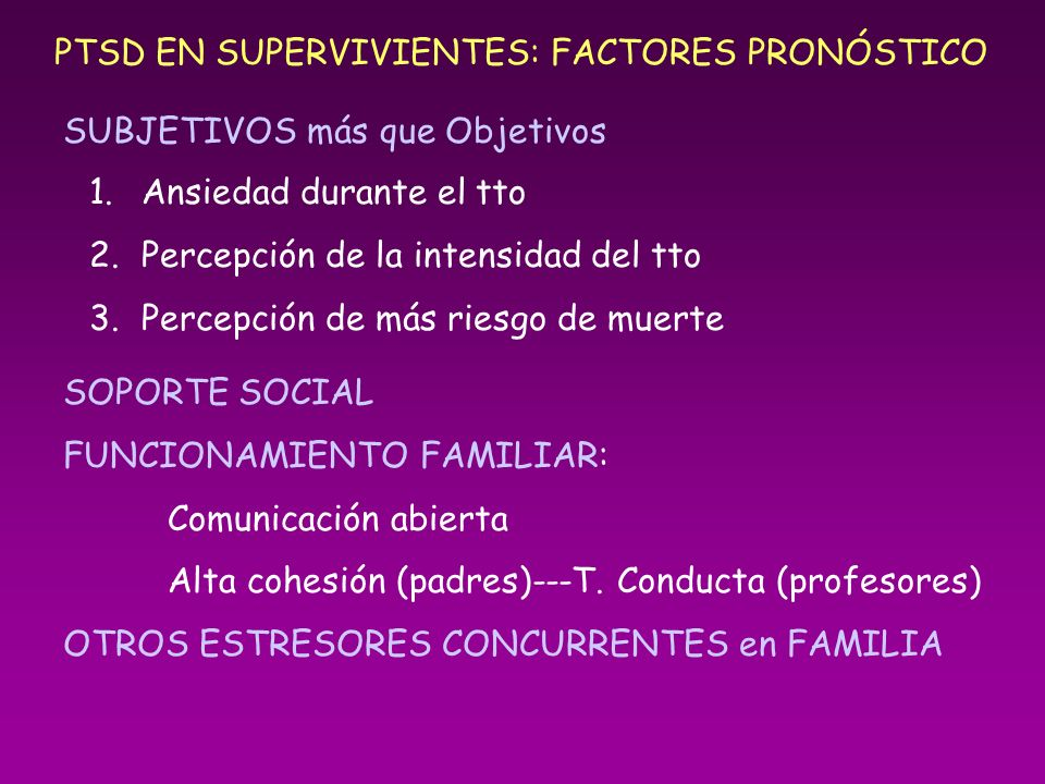 PTSD EN SUPERVIVIENTES: FACTORES PRONÓSTICO