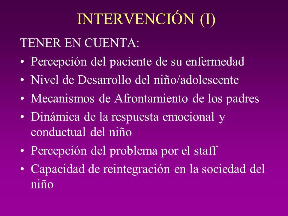 INTERVENCIÓN (I) TENER EN CUENTA: