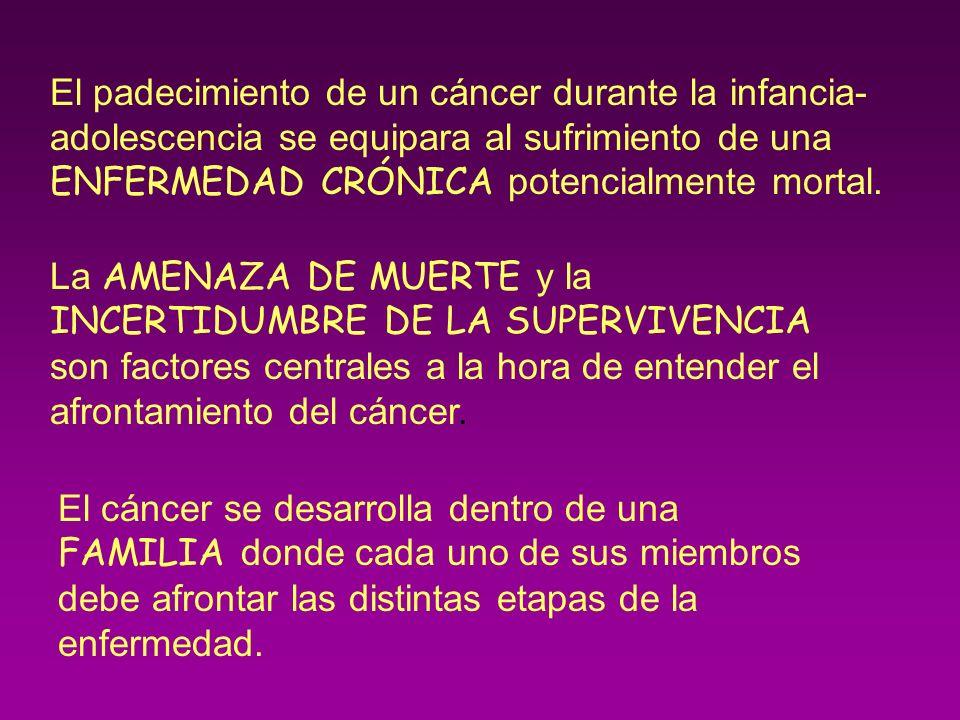 El padecimiento de un cáncer durante la infancia-adolescencia se equipara al sufrimiento de una ENFERMEDAD CRÓNICA potencialmente mortal.