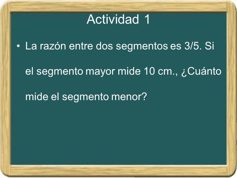 Actividad 1 La razón entre dos segmentos es 3/5.