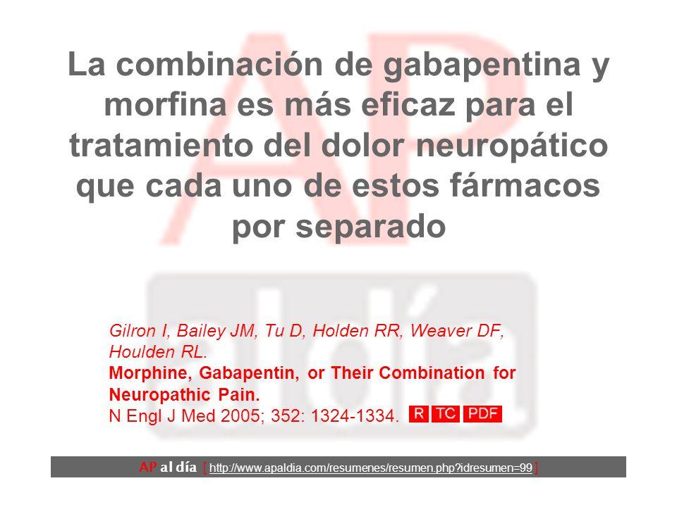 La combinación de gabapentina y morfina es más eficaz para el tratamiento del dolor neuropático que cada uno de estos fármacos por separado