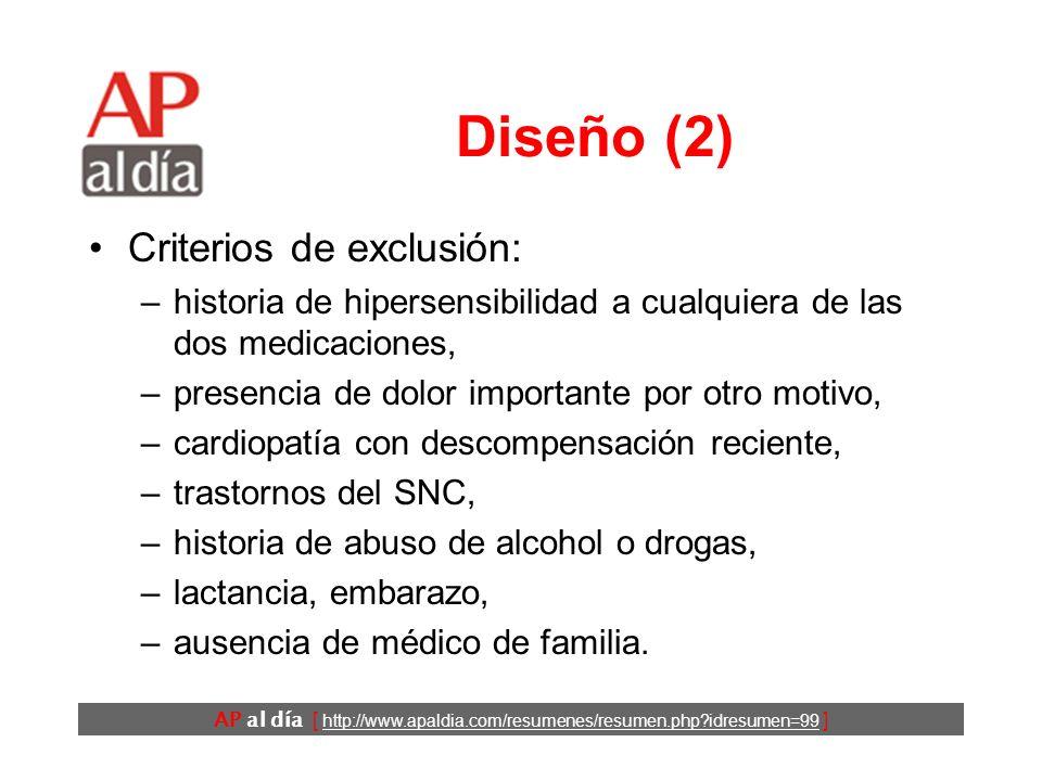 Diseño (2) Criterios de exclusión:
