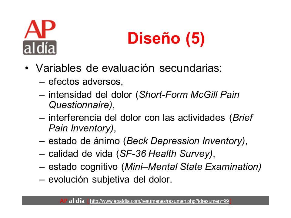 Diseño (5) Variables de evaluación secundarias: efectos adversos,
