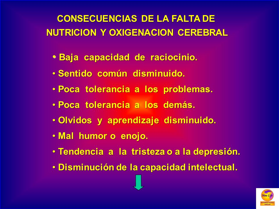CONSECUENCIAS DE LA FALTA DE NUTRICION Y OXIGENACION CEREBRAL