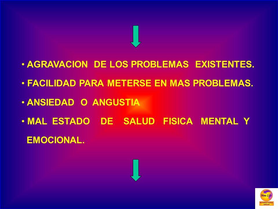 AGRAVACION DE LOS PROBLEMAS EXISTENTES.