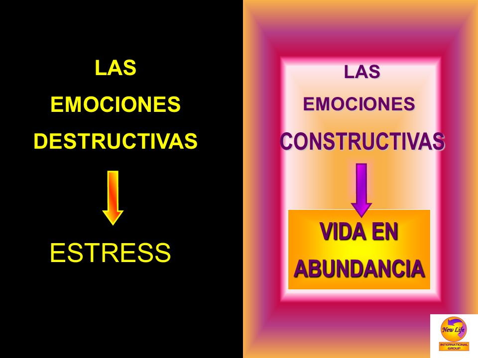 ESTRESS CONSTRUCTIVAS VIDA EN ABUNDANCIA LAS EMOCIONES DESTRUCTIVAS
